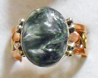 Size 9  Seraphinite Sterling Copper Brass Triple Metal Silver Ring New Vintage