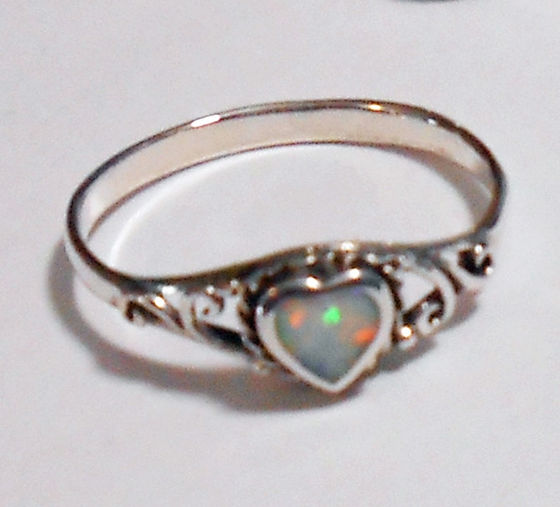Size 8 White Opal Filigree Heart Sterling Silver Ring New Vintage Wholesale