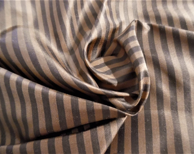 "High End Silk Taffeta~Small Stripe~Chocolate/Caramel~12""x54""~Doll Fabric"