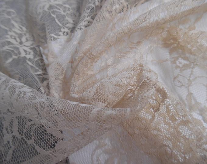 """Vintage 1950's Lace Fabric~Biscotti Tan~12""""x27""""~Flapper Dolls"""