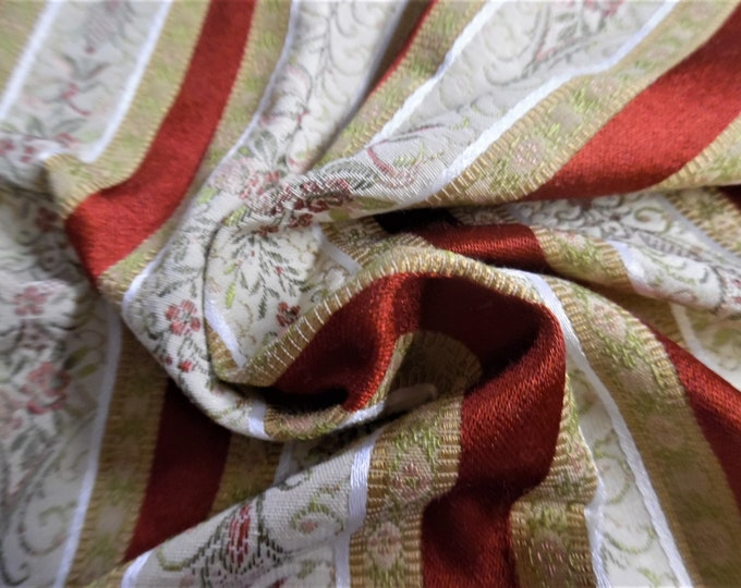 """Vintage French Lisere~Micro Embroidery/Satin Stripes~15""""x28""""~Doll Fabric"""