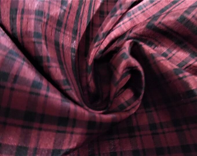 "Faux Silk Taffeta~Tiny Plaid~Dark Red/Black~18""x54""~Polyester~Great for Modern/Vintage Fashion Dolls"