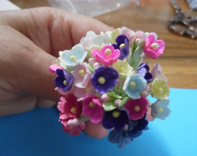 Tiny Old Fashioned Flocked Flowers~Multi Color Assortment~8 Stems~Great For Doll Hats!
