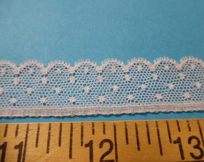 """French Val Scalloped Dotted Net Lace~White~Cotton~7/8""""~Capital Imports~1.75 Yd's~Dolls~Heirloom Sewing"""