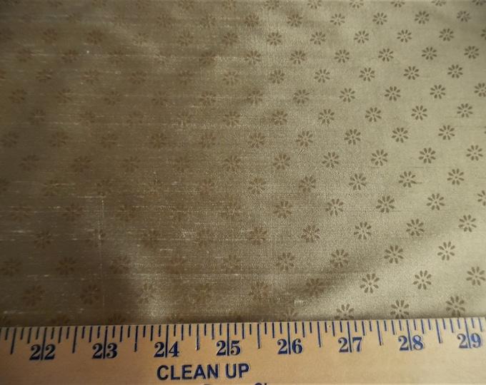 "Tiny Floral Print Silk Shantung~Shades of Gold~9""x27""~Doll Fabric"