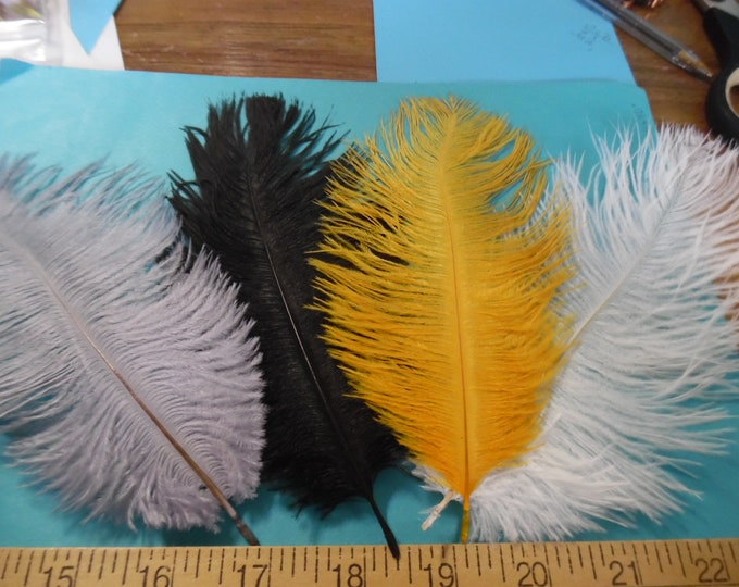 Ostrich Feather Assortment~5 Feathers~U Pick Combo of Available Colors! Great For Doll Hats~Fapper