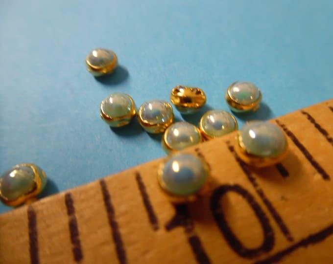 Tiny Doll Buttons~Lt.Aqua Pearl in Gold setting~Flat back~Sew On~Set 10~4.5MM