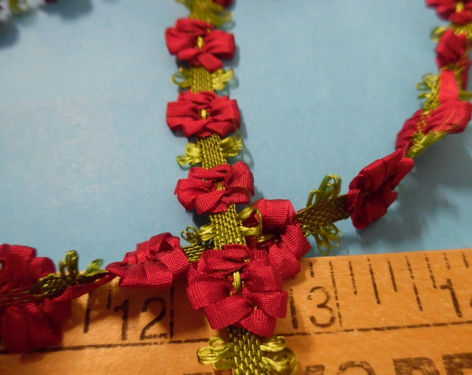 "Silky Flower Trim~Dark Red~1/2""~By The Yard~Doll Trim~Ricoco~Millinery"