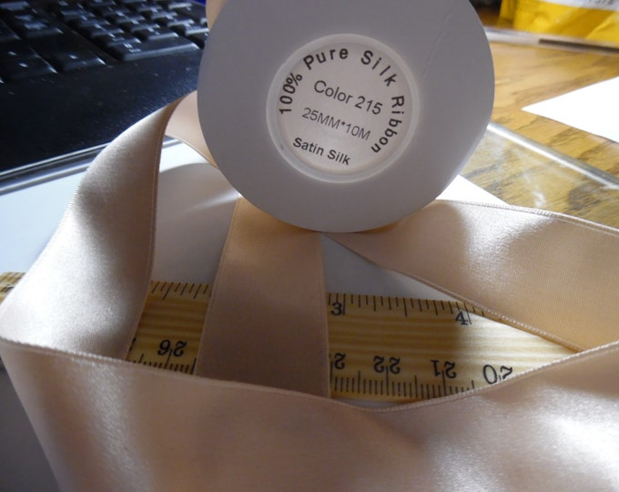 """100% Silk Double Faced Satin Ribbon~Peachy Pink~1""""x 1yd~Doll Dress and Hat Trim"""