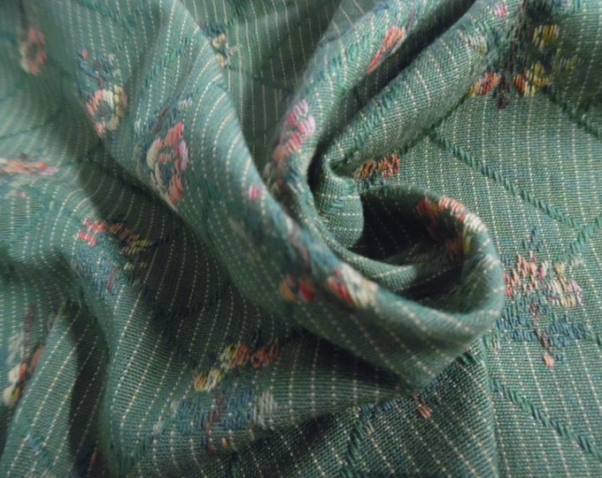 """100% Cotton brocade~Embroidered Small floral~Salmon/Gold/Green~12""""x29""""~Doll Acc's~Trunk Liner~Doll Furniture Upholstry Fabric"""