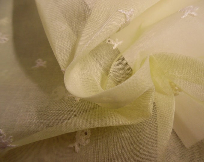 """Vintage Embroidered Cotton Organdy~1950's~Yellow~12""""x37""""~Doll Fabric"""