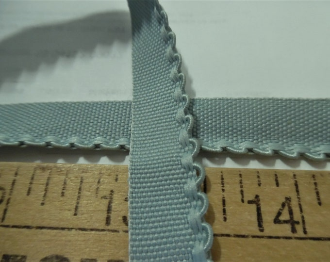 """Vintage 1/2"""" Flat Braid with Embroidered Scalloped Edge~Seafoam Green~By The Yard~Doll Dress and Hat Trim!"""