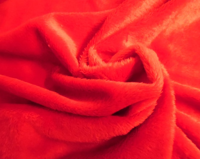 """Soft Silky Minky Faux Fur~Christmas Red~12""""x30""""~1/8""""Pile~Coat & Hat Trim~Coats~Capes~Hats~Muffs"""
