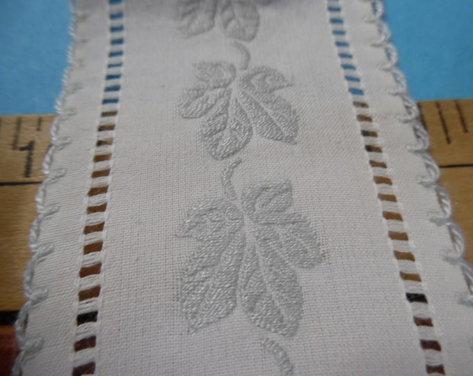 Vintage Fancy 100% Cotton Ribbon/Trim~Lt. Blue/White~Wide~BTY~Doll Purses~Dress Panel