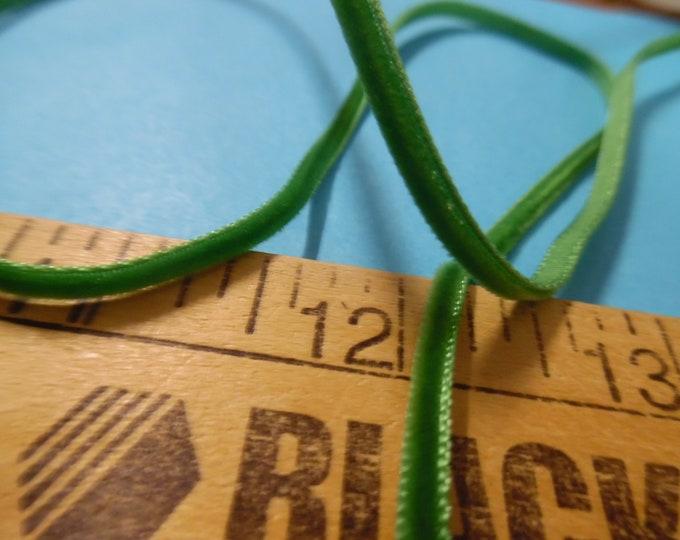 Tiny Velvet Ribbon~3MM~Leaf Green~3 Yards~Doll Dress and Hat Trim!