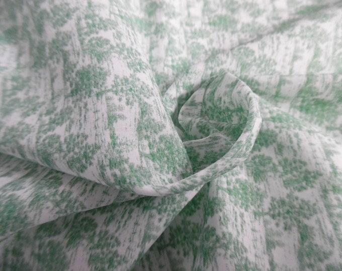 "Micro Toile Print Cotton Lawn~Green & White~Custom Printed~12""x27""~Doll Fabric~Miniatures"