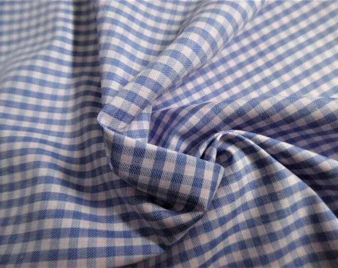 "Blue Gingham Pima Cotton Lawn~12""x30""~Doll Fabric~Silky Hand"