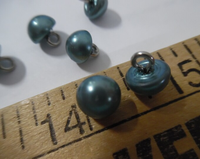 Malachite Half Pearl Buttons~Metal Shank~8MM~Set of Six~Doll Buttons