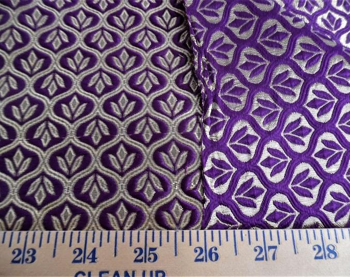 "Satin Jacquard Brocade~Medallions~Purple/Metallic Gold~Reversible~9""x21.5""~Doll Fabric~Flapper"