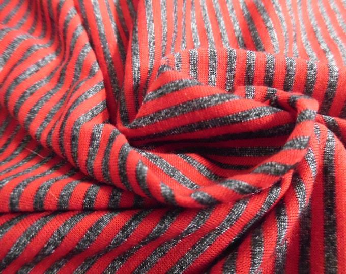 "Stripe Jersey Knit~Red & Dark Heathered Grey~15""x31""~ Doll Stockings"