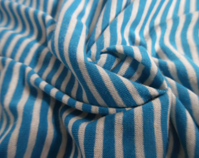"""Tiny Stripe Tissue Jersey~Teal Blue and White~Doll Fabric~12""""x33""""~Great 4 stockings, socks, leggings, ect."""
