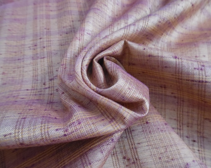 """Rayon Blend Textured Fabric~Small Plaid~Dark Berry/Gold~12""""x58""""~Silky Hand~Doll Fabric~Flapper"""