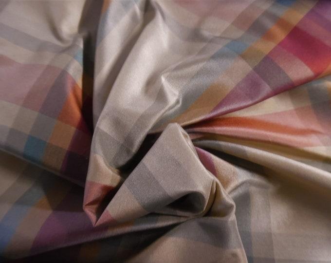 """High End Silk Taffeta~Large Scale Multi Colored Plaid~12""""x54""""~Doll Fabric"""