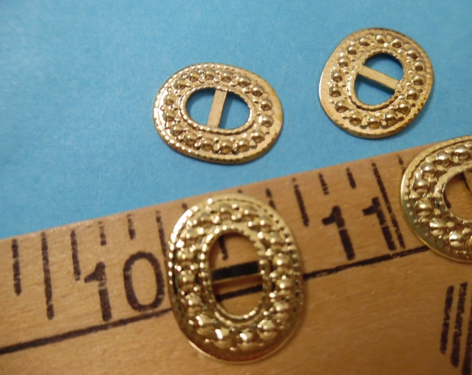 """Fancy Oval Conche' Buckles~Metal~Gold~3/4""""x5/16""""~Set of 4~Dolls"""