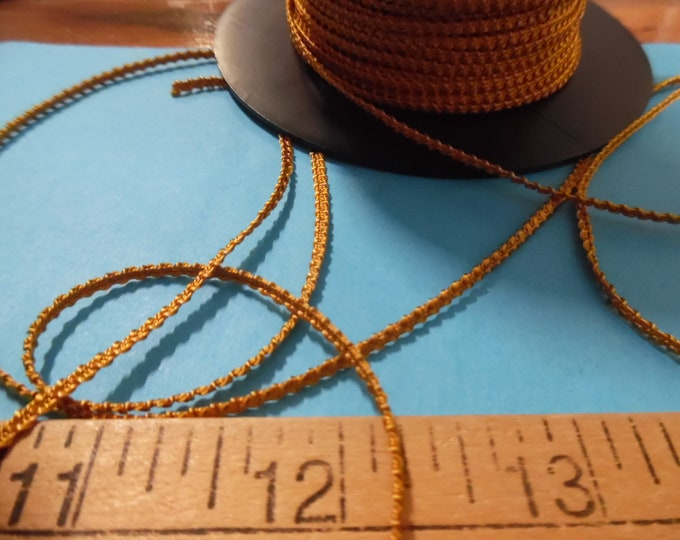 Imported Knobbly Braid~100% Rayon~2MM wide~Old Gold~3 Yards~Doll Dress and Hat Trim!