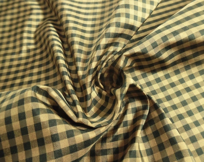 "Tiny Check Silk Taffeta~Hunter Green & Gold~9""x27""~Doll Fabric~Modern to Antique Dolls"