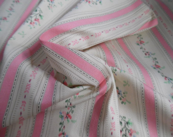 """Vintage Cotton Pillow Ticking~Pink Floral Stripes~16""""x28""""~Doll Fabric"""