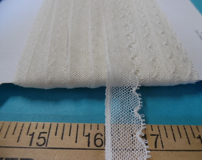 """French Val Scalloped Net Lace~Ivory~Cotton~5/8""""~Capital Imports~BY THE YARD~Doll lace~Heirloom Sewing"""