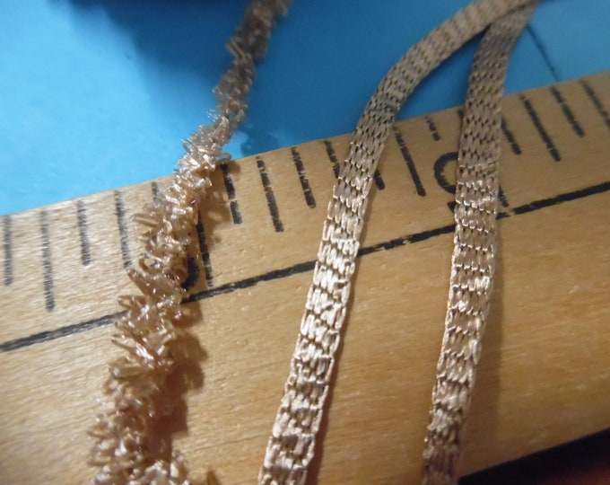 """Tiny Flat Braid~Vintage Gold Color~1/8""""x 4 Yards~Doll Trim~Can Be Unraveled for Miniature Fur Trim"""