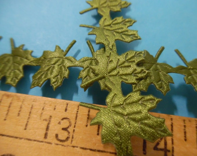 """Satin Face Maple Leaf Trim/Appliques~Green~5/8""""Wide~By The Yard~Doll Trim"""
