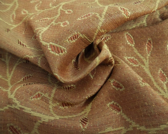 "Silk/Cotton Jacquard Brocade Suiting~Shades of Salmon/Yellow~12""x28""~Doll Fabric"
