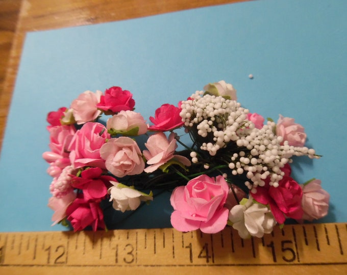 Mulberry Paper Roses and Stamen Assortment~Shades of Pink~24 Pieces~Great For Doll Hats!