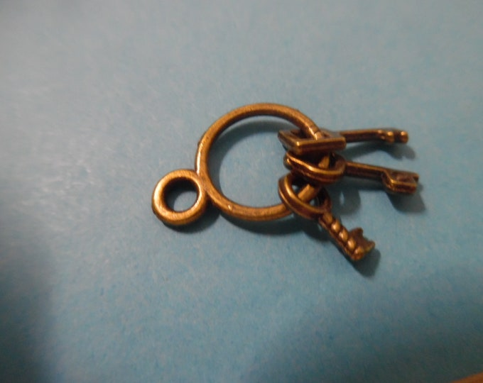 New Doll Size Charms~Tiny Metal Old Fashioned Key Ring~Bronze~By the Piece~Chatelaines~Embellish Carpetbags~Sewing Kits