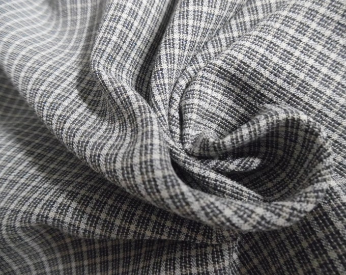 """100% Wool Crepe~Micro Plaid~Black & White~12""""x32""""~Great for DollS"""