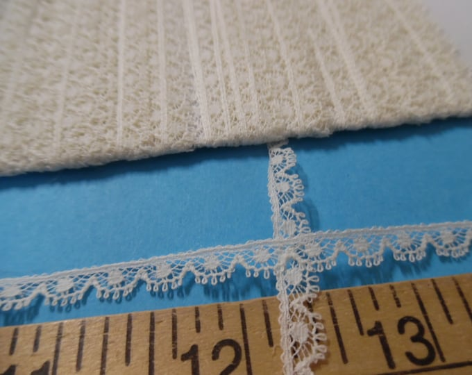 """Sweet French Cotton Lace~Ivory~1/4""""~BY THE YARD~Tiny Doll Lace~Heirloom Sewing~Lace C-2"""