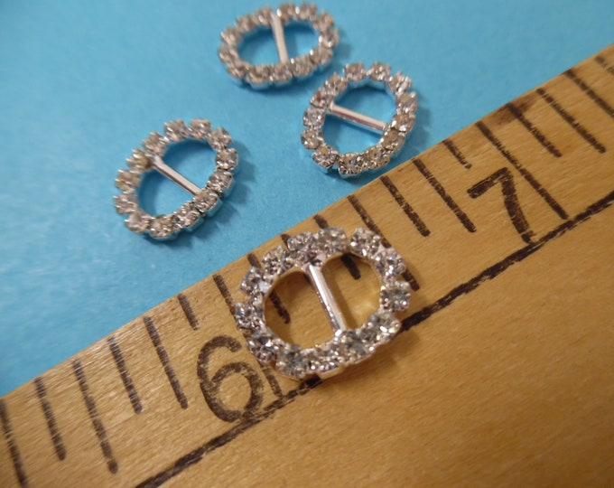 """Tiny Rhinestone Doll Buckles~Ovals~3/8""""x1/2""""~ Silver Setting~Set of 4~Great for Barbie!"""