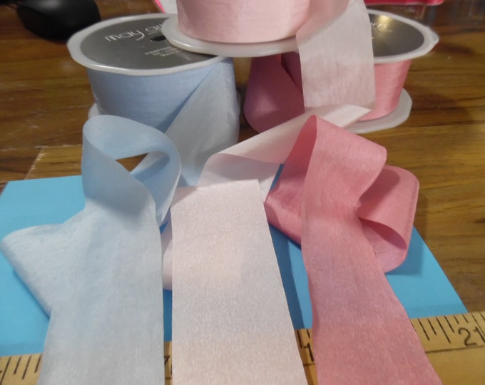 """Wide Faux Silk Ribbon Assortment~1.5""""wide~Three colors~Total of 4.5 Yards~Modern, and Vintage Dolls"""