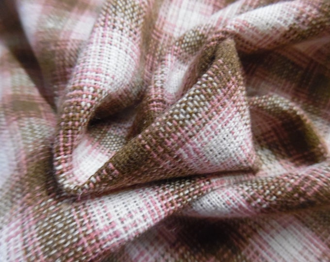 """Wool/Linen Fabric~Small Plaid~Brown/Pink/White~12""""x29""""~Doll Fabric~Light Weight"""