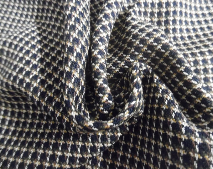 """Rayon Suiting~Tweed Weave~Micro Plaid Brown/Black/Cream~12""""x30""""~Doll Fabric~Flapper"""