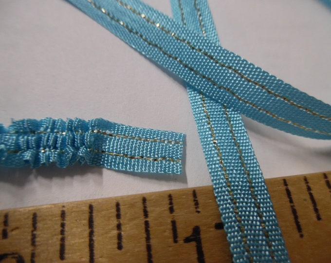 "Vintage Pull Ribbon Trim~Aqua/Metallic Gold~1/4""~100% Rayon~By The Yard~Doll Dress and Hat Trim!"