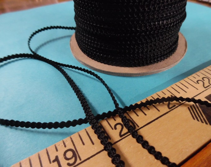 Imported Knobbly Braid~100% Rayon3MM wide~Jet Black~3 Yards~Doll Dress and Hat Trim!