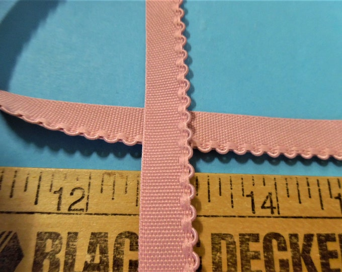 """Vintage 1/2"""" Flat Braid with Embroidered Scalloped Edge~Dusty Pink~By The Yard~Doll Dress and Hat Trim!"""