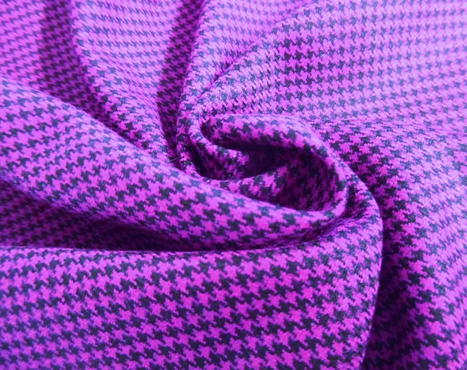 """Italian Wool Blend Suiting~Magenta/black Houndstooth~12""""x30""""~Doll Fabric~Flapper"""