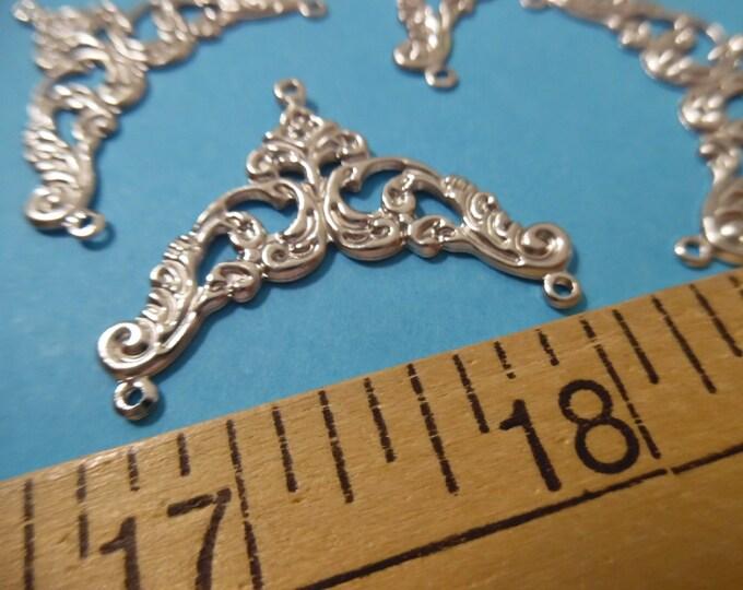 Fancy Filigree Metal Findings~Silver~Set of 4~DIY Doll Purses!