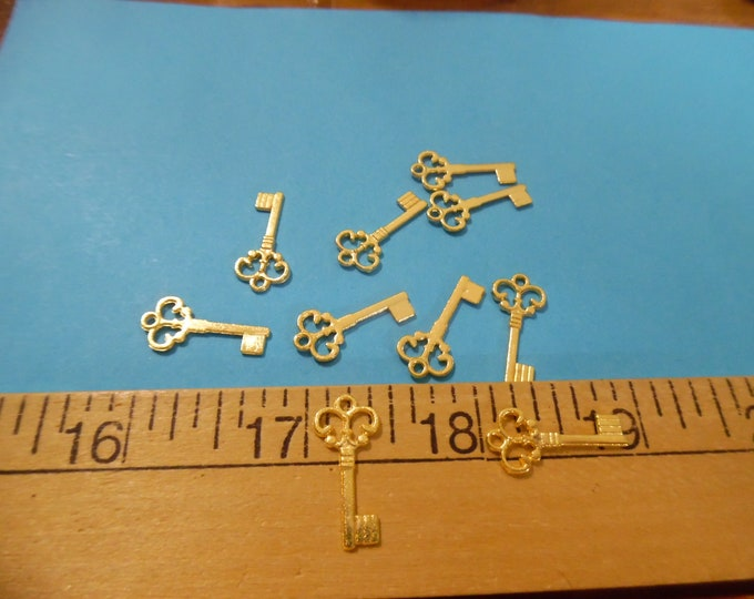 """New Doll Size Charms~Gold Metal Keys~15/16""""long~Set 10~Chatelaines~Embellish Carpetbags~Sewing Kits"""