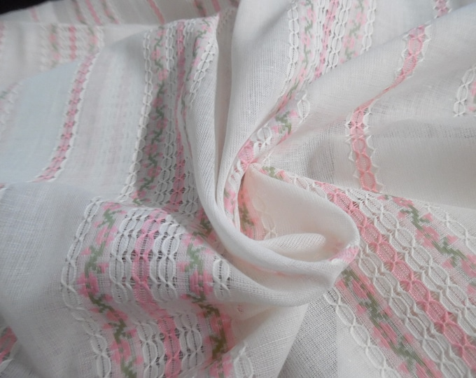 """Vintage Embroidered Open Weave Cotton Voile~Pink/Green/White~Semi Sheer~17.5""""x48"""" ~Doll Fabric"""